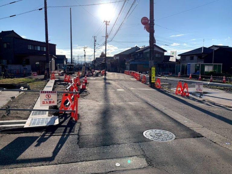 福野中学校前の道の工事