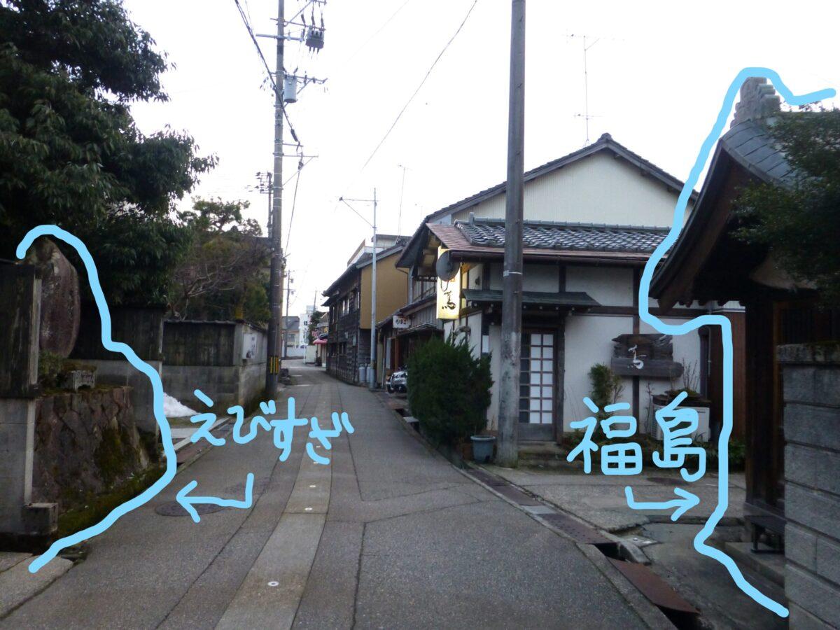 福島の不動戸尊 恵比寿座跡 位置関係 福野