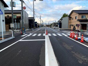 福野中学校から福野駅前の道、ほぼ完成してた